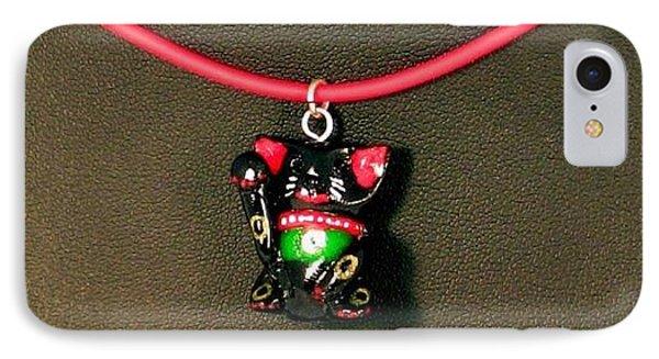 Deluxe Hand Painted Black Maneki Neko Lucky Beckoning Cat Necklace Phone Case by Pet Serrano