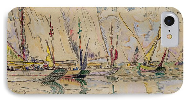 Departure Of Tuna Boats At Groix Phone Case by Paul Signac
