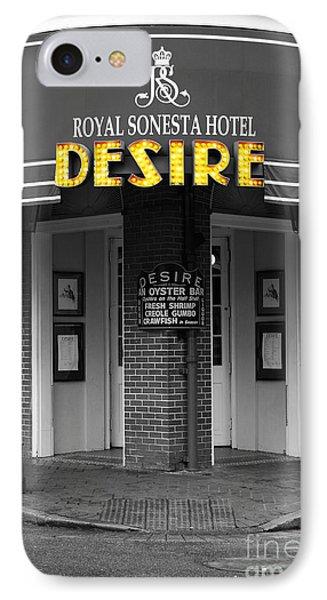 Desire Corner Bourbon Street French Quarter New Orleans Color Splash Black And White Digital Art  IPhone Case by Shawn O'Brien