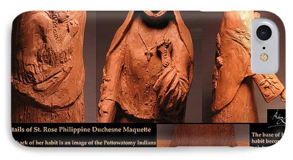 Details Of Symbols On Saint Rose Philippine Duchesne Sculpture. IPhone Case by Adam Long