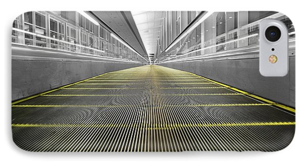 IPhone Case featuring the photograph Dfw Airport Walkway Perspective Color Splash Black And White by Shawn O'Brien