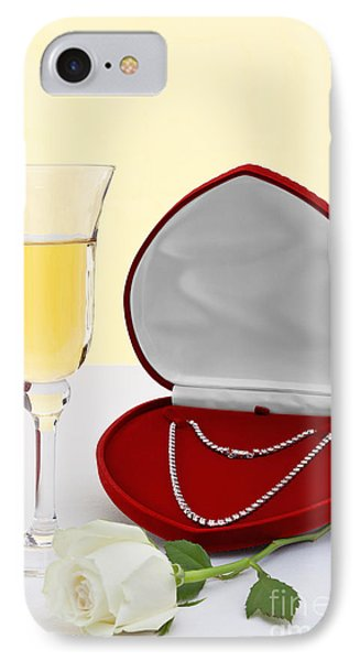Diamond Necklace With Champagne And White Rose. IPhone Case by Richard Thomas