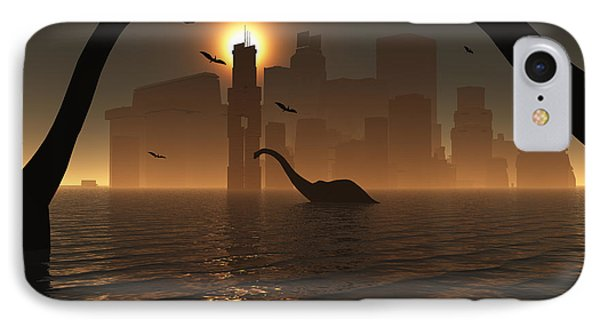 Dinosaurs Feed Near The Shores Phone Case by Mark Stevenson
