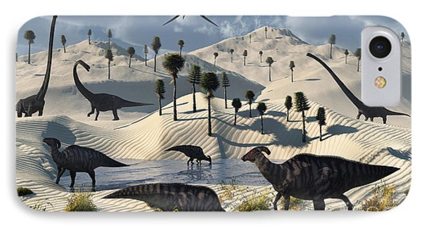 Dinosaurs Gather At A Life Saving Oasis Phone Case by Mark Stevenson