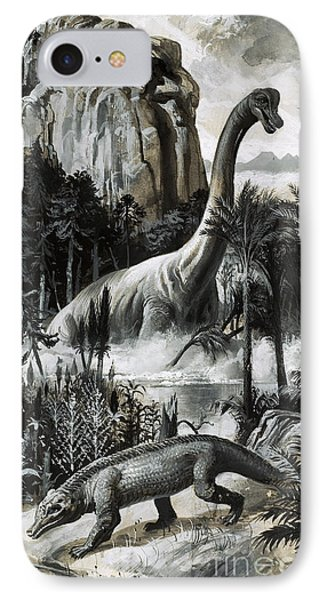 Dinosaurs IPhone Case by Roger Payne