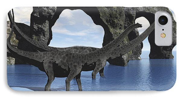 Diplodocus Dinosaurs Wade IPhone Case by Corey Ford