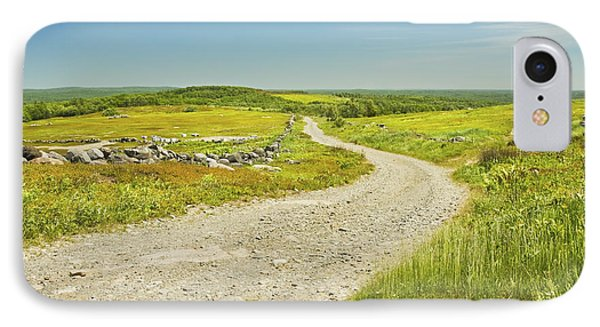 Dirt Road Going Through Large Blueberry Field Maine IPhone Case by Keith Webber Jr