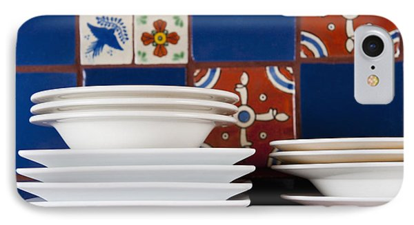 Dishes In Front Of Colorful Tile Phone Case by Thom Gourley/Flatbread Images, LLC