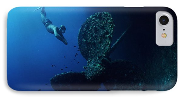 Diver By Shipwreck's Propeller IPhone Case by Alexis Rosenfeld