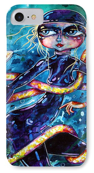 IPhone Case featuring the painting Diving With Serpent by Leanne Wilkes