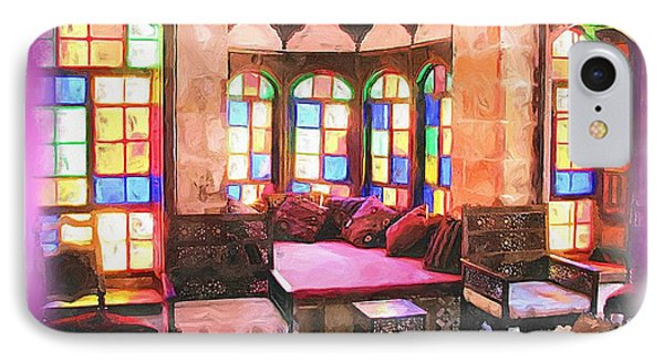 IPhone Case featuring the photograph Do-00520 Emir Bachir Palace Interior-violet Bkgd by Digital Oil