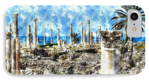IPhone Case featuring the photograph Do-00549 Ruins And Columns - Town Of Tyr by Digital Oil