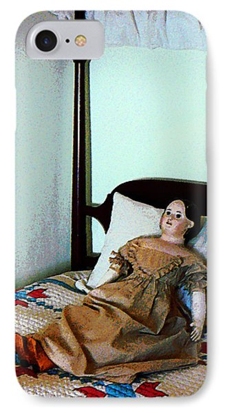 Doll On Four Poster Bed Phone Case by Susan Savad