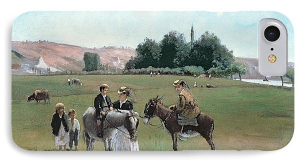 Donkey Ride IPhone 7 Case by Camille Pissarro