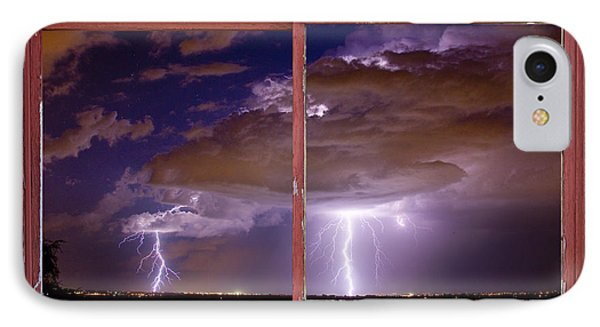 Double Trouble Lightning Picture Red Rustic Window Frame Photo A Phone Case by James BO  Insogna
