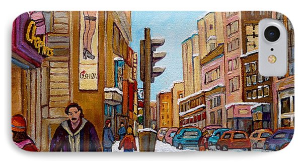 Downtown Montreal Paintings Phone Case by Carole Spandau