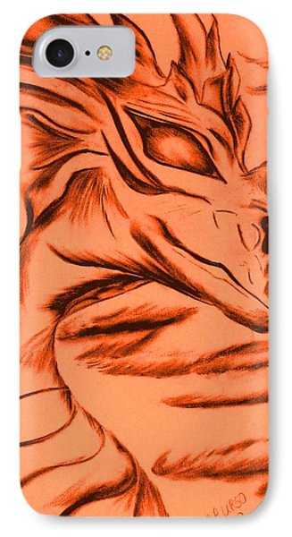 IPhone Case featuring the drawing Dragon In Color by Maria Urso