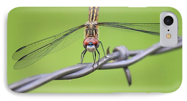 IPhone Case featuring the photograph Dragonfly On Barbed Wire by Penny Meyers