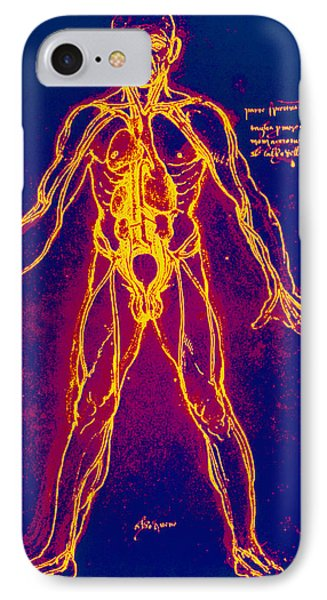 Drawing Of Human Venous System (leonardo Da Vinci) Phone Case by Mehau Kulyk