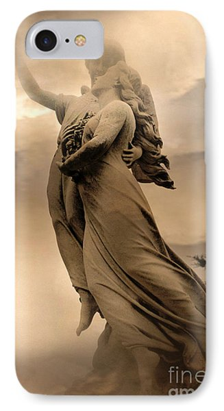 Dreamy Surreal Guardian Angels Ascent To Heaven IPhone Case by Kathy Fornal