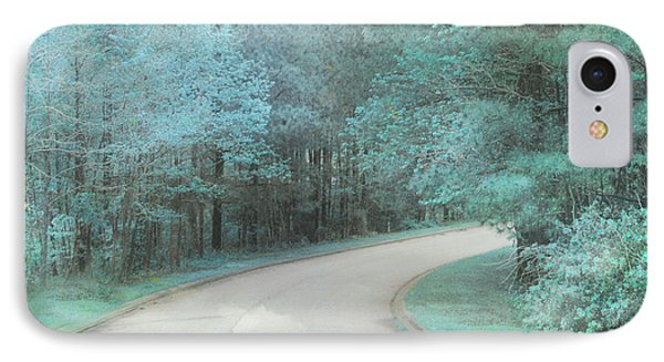 Dreamy Teal Aqua Blue Nature Trees IPhone Case by Kathy Fornal