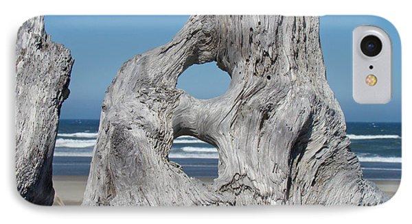 Driftwood Art Prints Coastal Blue Sky Ocean Waves Shoreline Phone Case by Baslee Troutman
