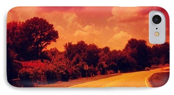 #driving #sky #clouds #road #summer IPhone Case by Katie Williams
