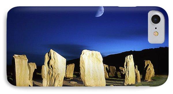 Drombeg, County Cork, Ireland Moon Over IPhone Case by Richard Cummins