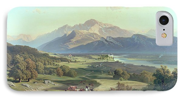 Drover On Horseback With His Cattle In A Mountainous Landscape With Schloss Anif Salzburg And Beyond Phone Case by Josef Mayburger