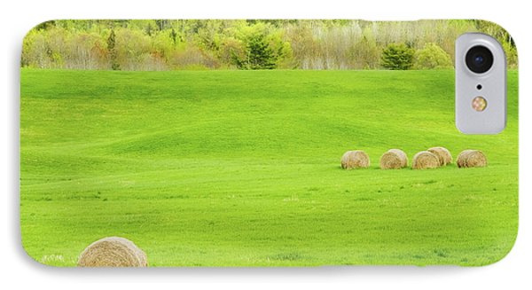 Dry Hay Bales In Spring Farm Field Maine Photo IPhone Case by Keith Webber Jr
