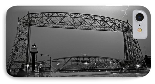 Duluth Lift Bridge Under Lightning IPhone Case by Mark David Zahn