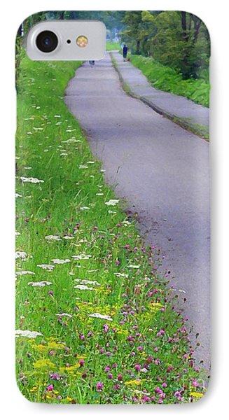 Dutch Bicycle Path - Digital Painting Phone Case by Carol Groenen