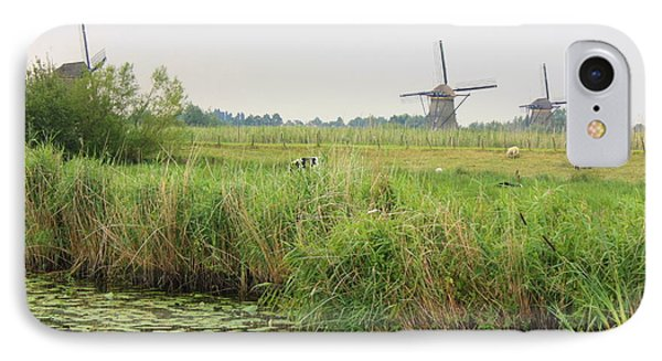 Dutch Landscape With Windmills And Cows Phone Case by Carol Groenen