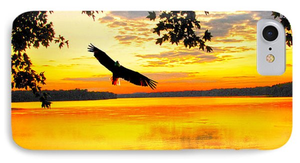 IPhone Case featuring the photograph Eagle At Sunset by Randall Branham