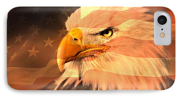 Eagle On Flag Phone Case by Marty Koch