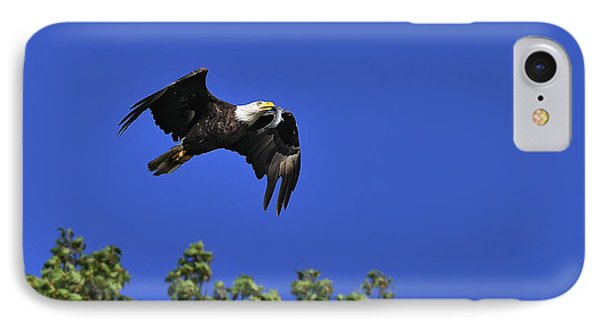 IPhone Case featuring the photograph Eagle Over The Tree Top by Randall Branham