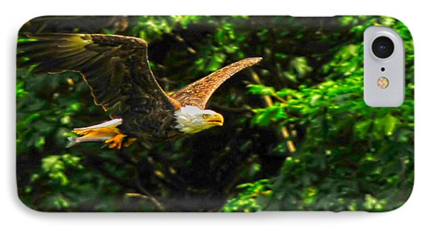IPhone Case featuring the photograph Eagle Taking Lunch To Her Babies by Randall Branham