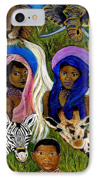 Earthangels Abeni And Adesina From Africa IPhone Case by The Art With A Heart By Charlotte Phillips
