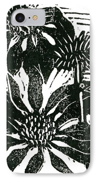 Echinacea Block Print Phone Case by Ellen Miffitt