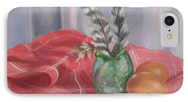 IPhone Case featuring the painting Eggs Feathers And Glass by Carol Berning