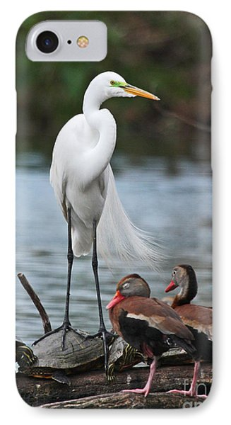 IPhone Case featuring the photograph Egret - Best Friends by Luana K Perez