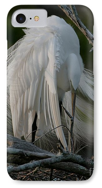 IPhone Case featuring the photograph Egret - Mother And Eggs  by Luana K Perez