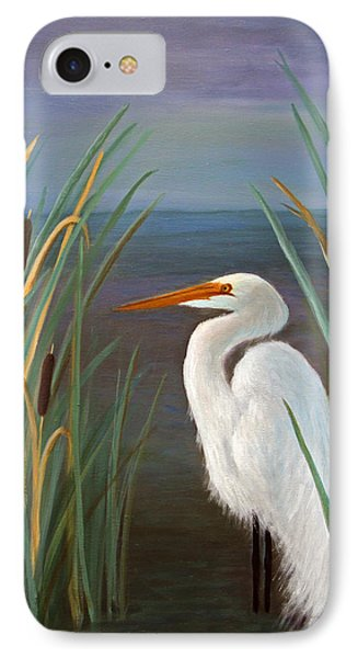 IPhone Case featuring the painting Egret In Cattails by Janet Greer Sammons
