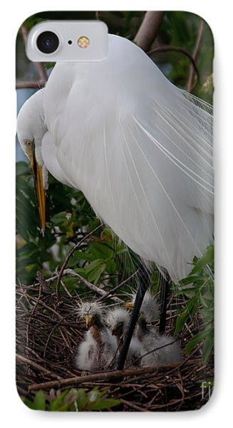 IPhone Case featuring the photograph Egret With Chicks by Art Whitton