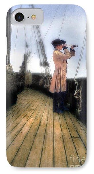 Eighteenth Century Man With Spyglass On Ship Phone Case by Jill Battaglia