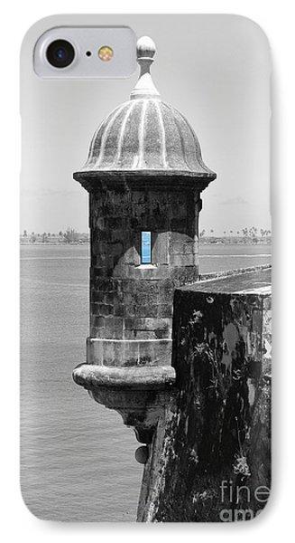 El Morro Sentry Tower Color Splash Black And White San Juan Puerto Rico Phone Case by Shawn O'Brien