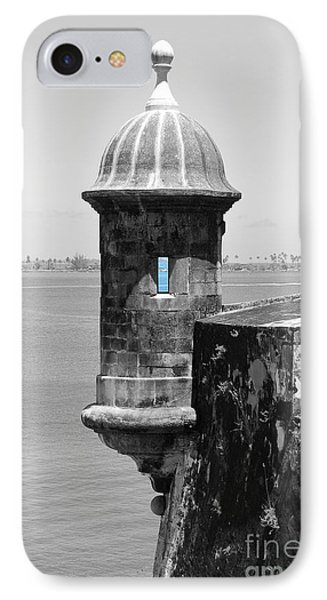 IPhone Case featuring the photograph El Morro Sentry Tower Color Splash Black And White San Juan Puerto Rico by Shawn O'Brien