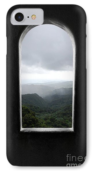 IPhone Case featuring the photograph El Yunque Cloudburst Color Splash Black And White by Shawn O'Brien
