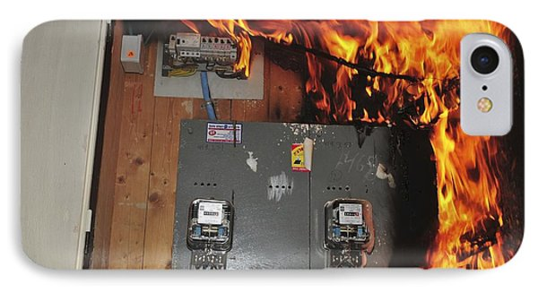 electrical fire in a household fuse box photograph by photostock electrical fire in a household fuse box phone case by photostock