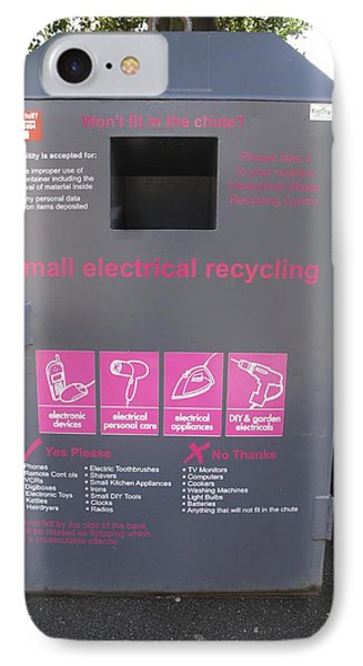 Electrical Recycling Bin IPhone Case by Cordelia Molloy